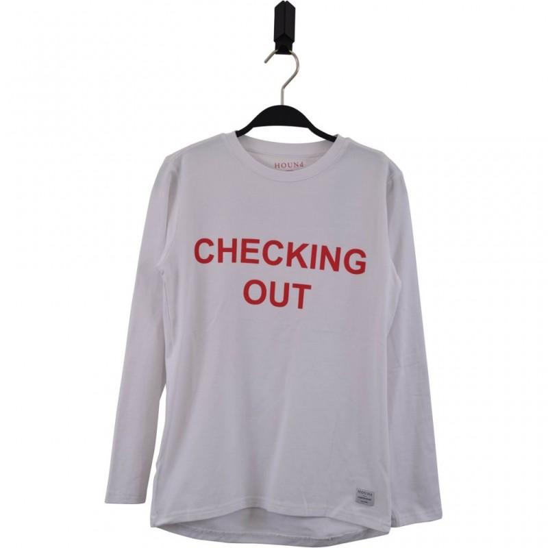 HOUND Langærmet nattrøje med CHECKING OUT print hvid-31