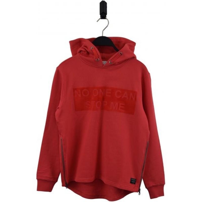 Sej hoodie med lynlåsdetalje frisk rød-32