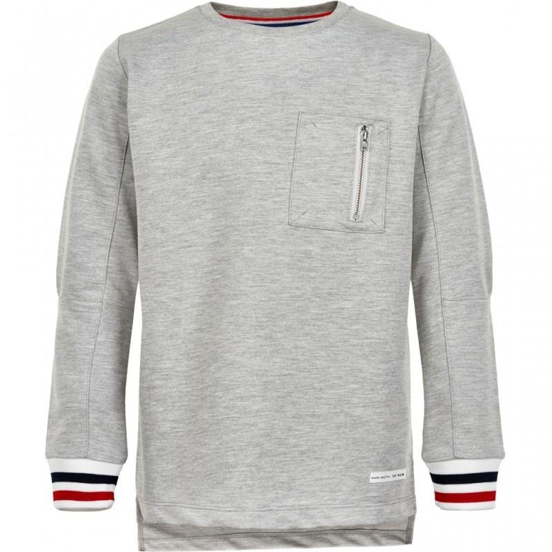 THE NEW Langærmet bluse med brystlomme og flotte ærmekanter grå-31