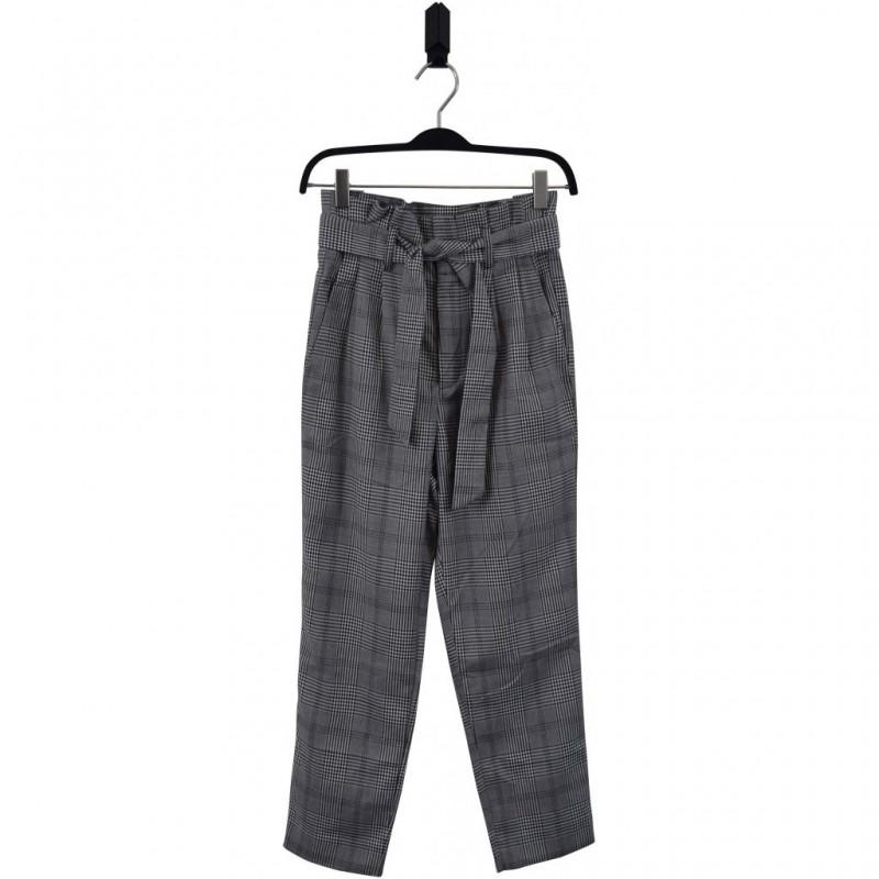 HOUND Højtaljede bukser med flæsekant og bindebånd London checks mønster-32