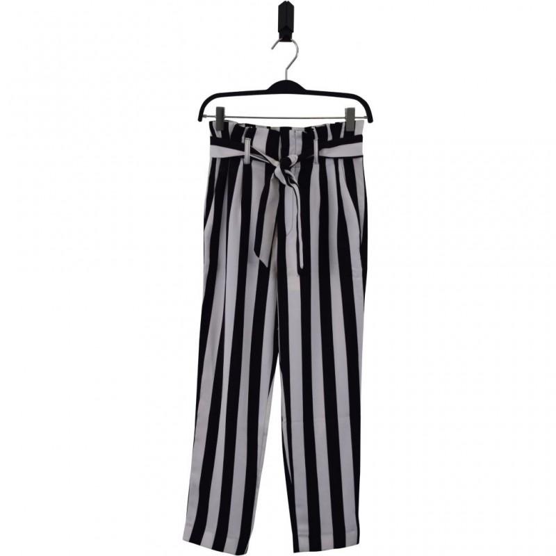 HOUND Højtaljede bukser med flæsekant og bindebånd stribet sort/hvid-33