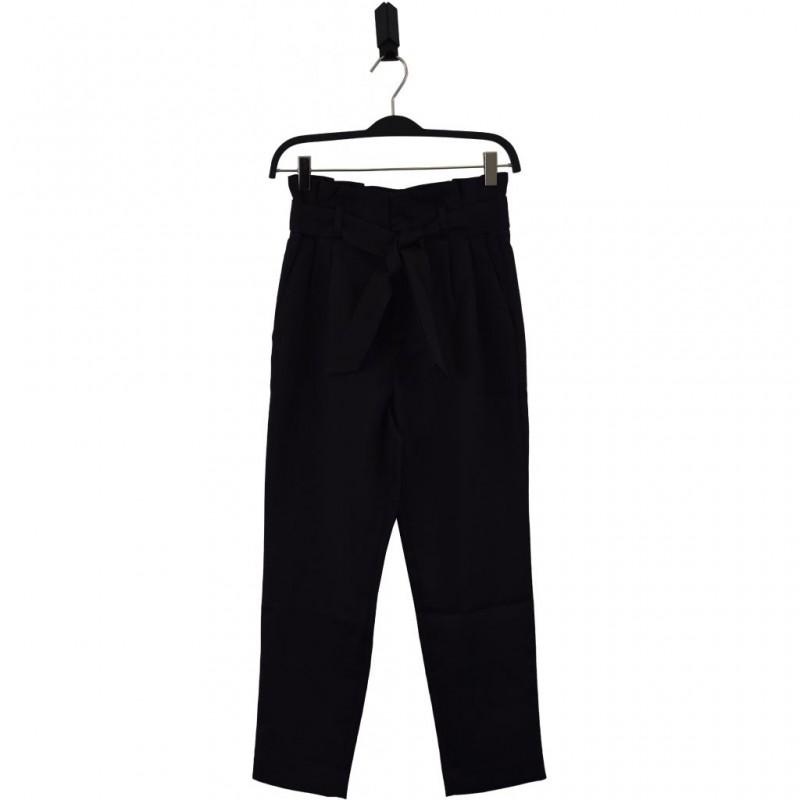 HOUND Højtaljede bukser med flæsekant og bindebånd sort-31