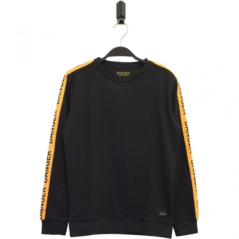 HOUND Sej sweatshirt med gult DANGER-bånd langs ærmerne sort-35