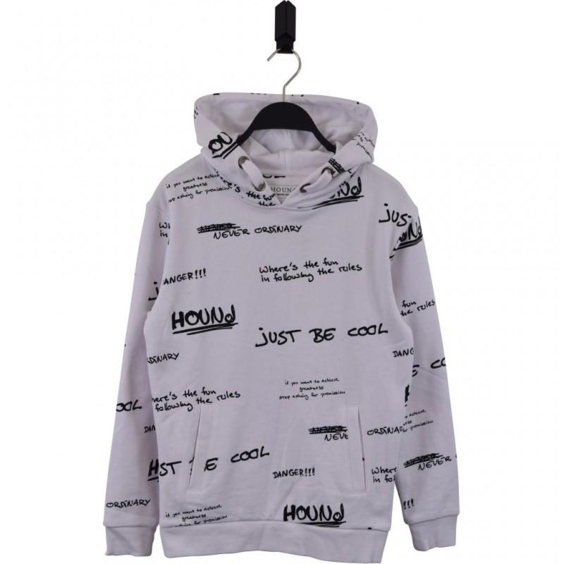 HOUND Sej hoodie i flot fashion design hvid med sort grafitti skrift-35