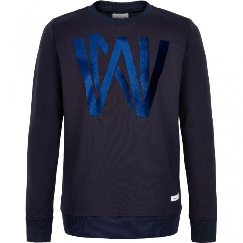 THE NEW SWEATSHIRT MED FLOTTE SKINNENDE BOGSTAVER KONRAD NAVY-33