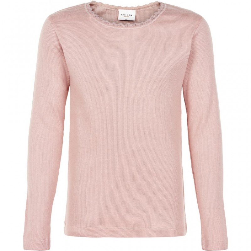 THE NEW Langærmet basis bluse i fin rib med blondekanter rose-01