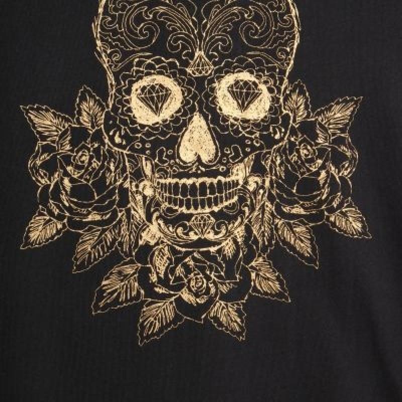 Langærmet bluse med guld skull sort-01