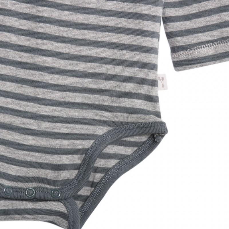 WHEAT Langærmet body med striber lysegrå/grå-02