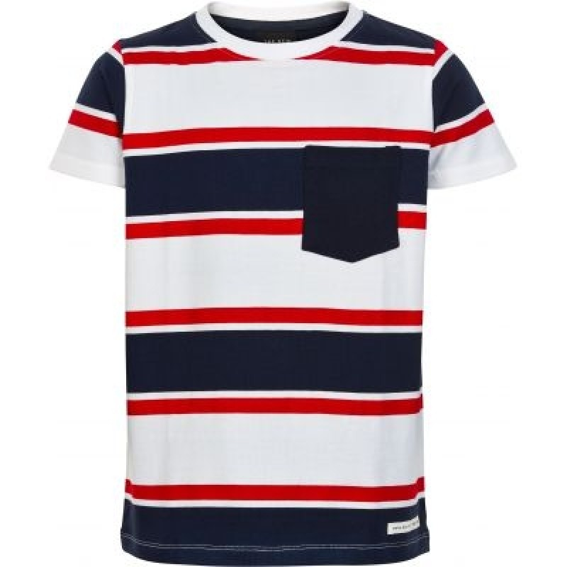 THE NEW Stribet t-shirt med pyntelomme LARRY rød-navy-hvid-34