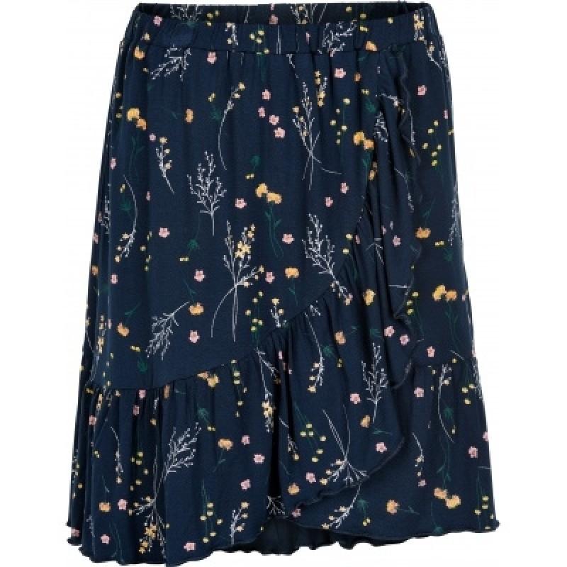 THE NEW Blødt skirt med flæser LOLLY navy med print af markblomster-34