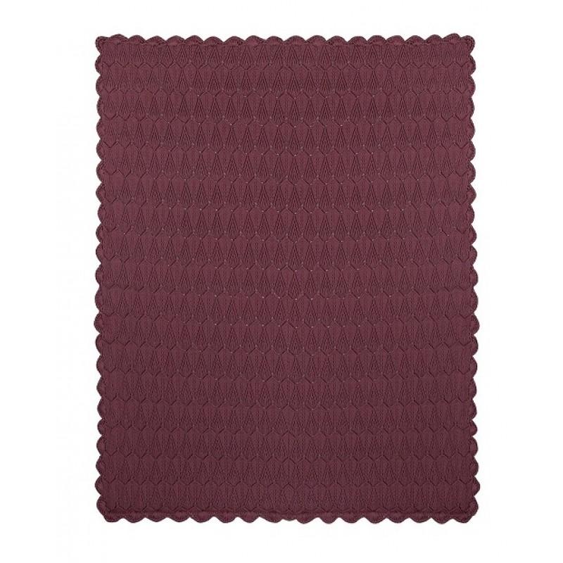 MÜSLI Strikket tæppe i flot mønster dusty berry-32