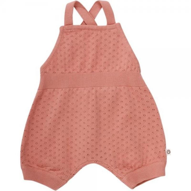 MÛSLI Shorts i fin strik Knit dot romper Dark peach-31