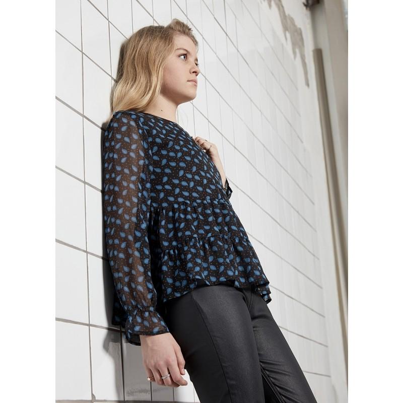 D-XEL Pernilla bluse Blå/sort-02