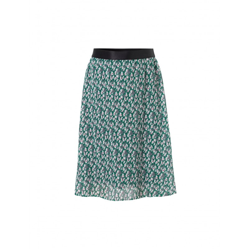 Flower crepe skirt grøn med blomsterprint-31