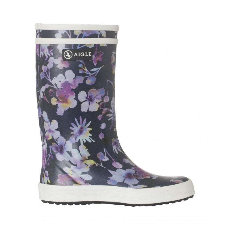 AIGLE Baby Flac and Lolly Pop Dark Flower gummistøvler navy-34