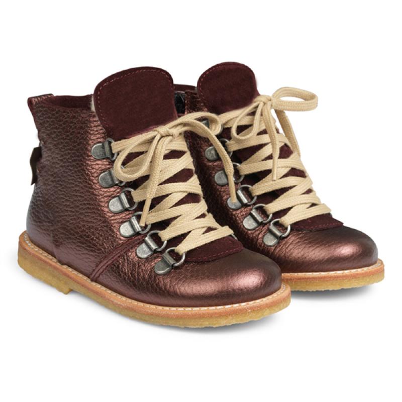 ANGULUS Vinterstøvler med lynlås og snøre bordeaux shine-32