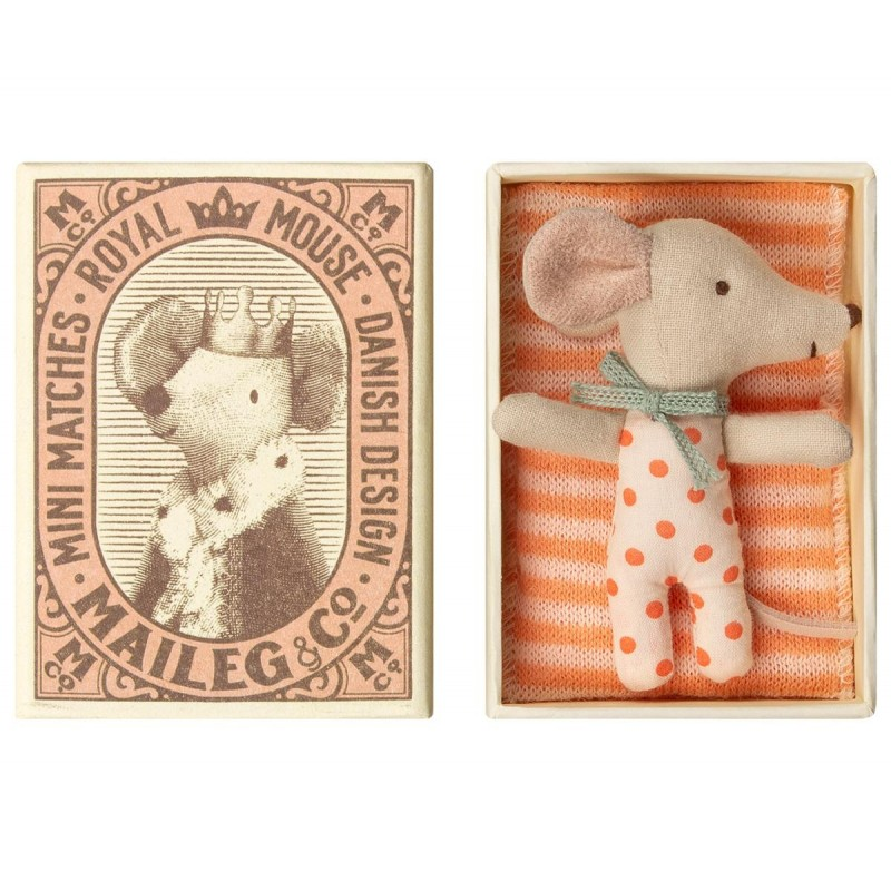 MAILEG Baby mouse Sllep/wakey in box pige-01