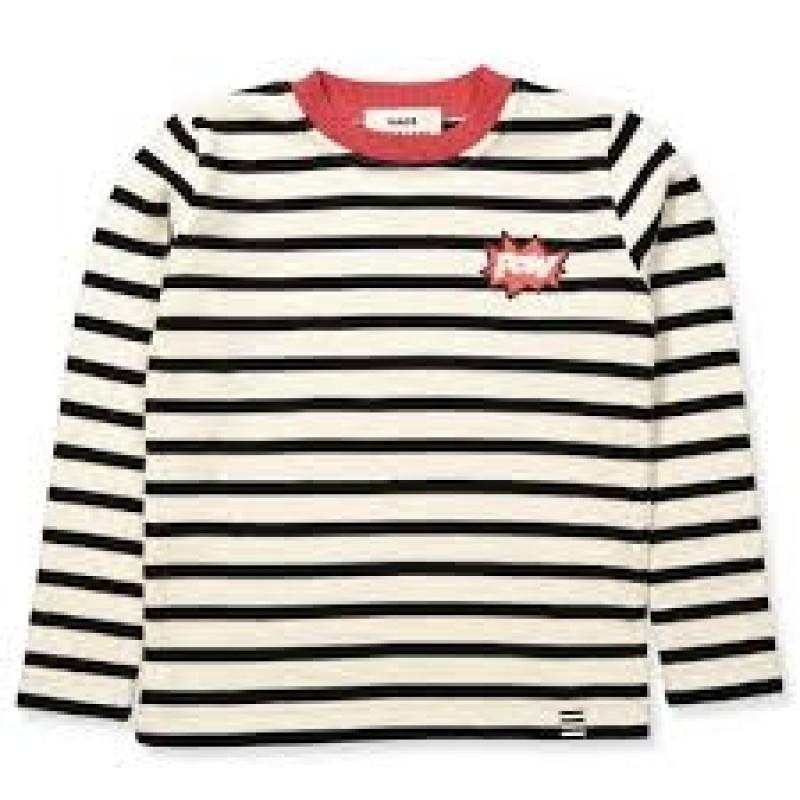 Tynd stribet strik i uld og med pow badge på brystet-33