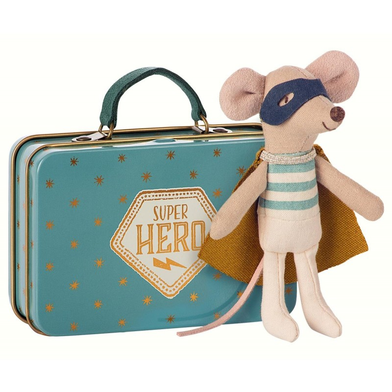Superhero mouse in suitcase blå med guldstjerner-34