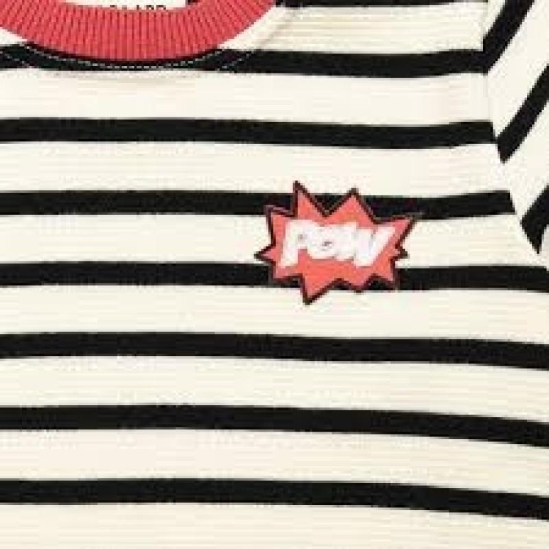 Tynd stribet strik i uld og med pow badge på brystet-03