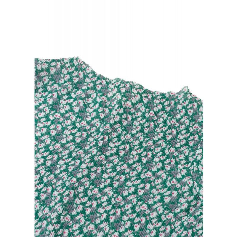 Flower crepe bluse grøn med blomsterprint-03