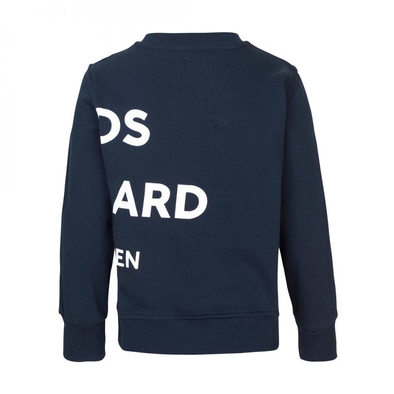 Sweatshirt med hvidt print både for og bag navy-01