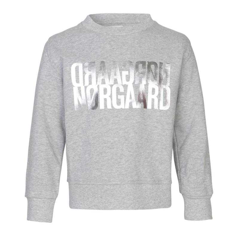 MADS NØRGAARD Sweatshirt med sølv NØRGAARD print grå melange-31