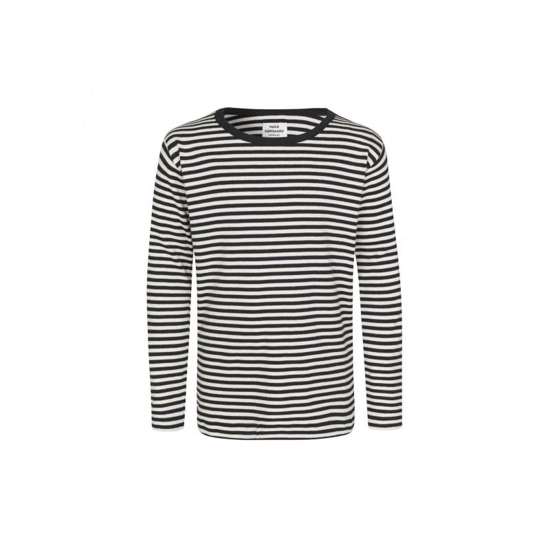 MADS NØRGAARD Tobino langærmet T-shirt Navy/Ecru/Navy-32