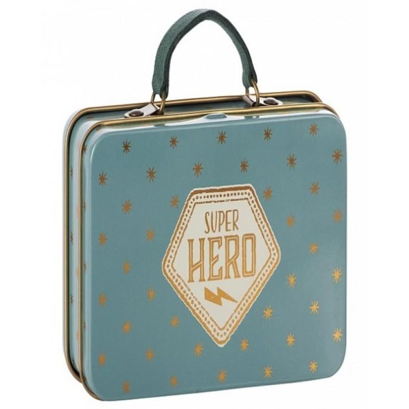 MAILEG Super hero metal suitcase blå med guldstjerner-32