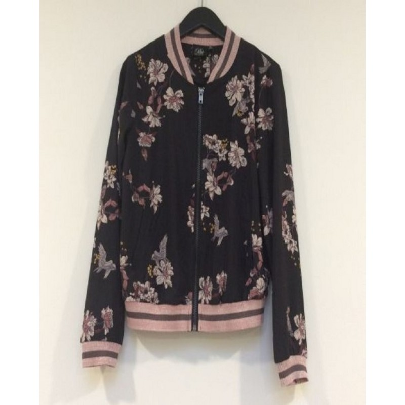 BOMBER JACKET SORT MED BLOMSTERMOTIVER-31
