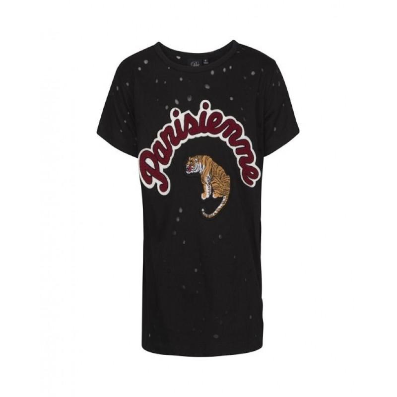 PETIT BY SOFIE SCHNOOR T-shirt med skrift og tigermotiv sort-31