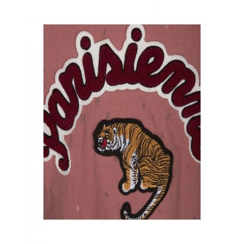 PETIT BY SOFIE SCHNOOR T-shirt med skrift og tigermotiv rosa-01
