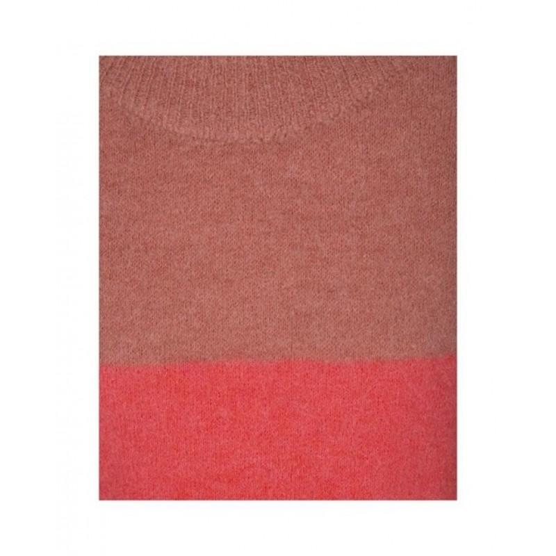 Lækker tofarvet strik i rosa nuancer-01
