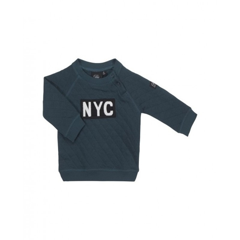 "SWEATSHIRT MED ""NYC"" PETROLEUM-37"