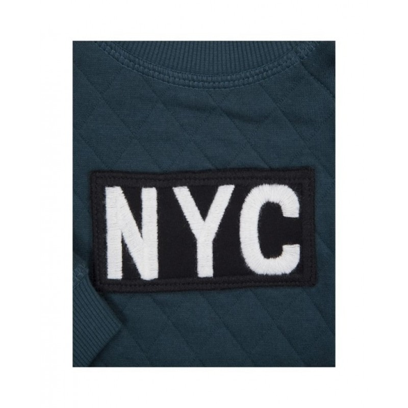"SWEATSHIRT MED ""NYC"" PETROLEUM-07"
