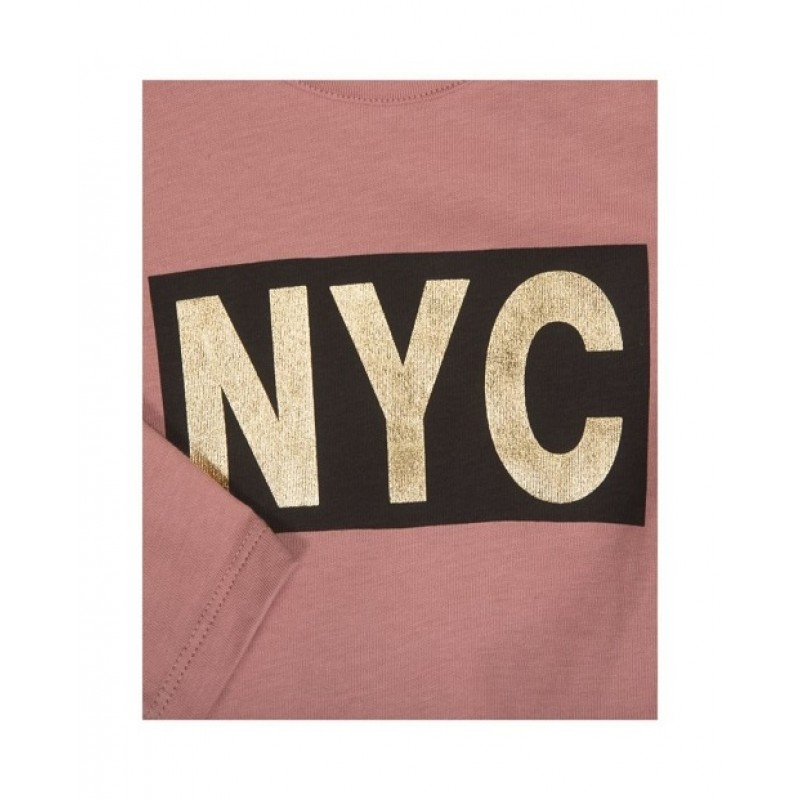 PETIT BY SOFIE SCHNOOR LANGÆRMET SHIRT MED NYC PRINT DUSTY ROSE-01