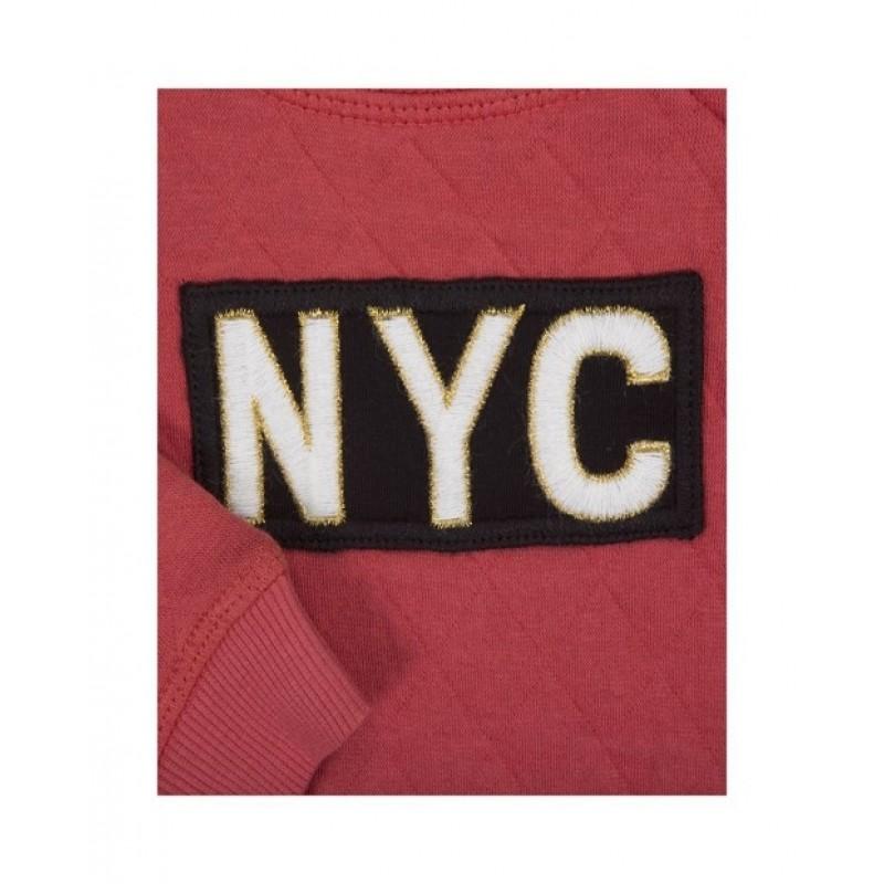 """SWEATSHIRT MED """"NYC"""" MØRK ROSA-09"""