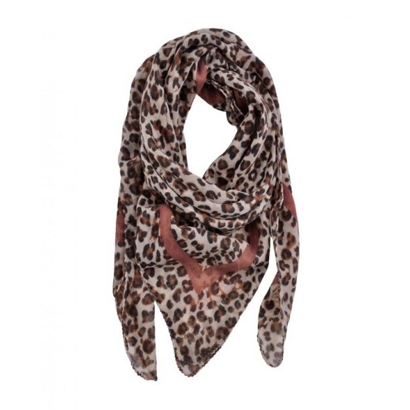 PETIT BY SOFIE SCHNOOR Leopard tørklæde med rosa stribe-31