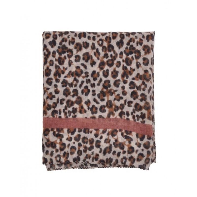 PETIT BY SOFIE SCHNOOR Leopard tørklæde med rosa stribe-01