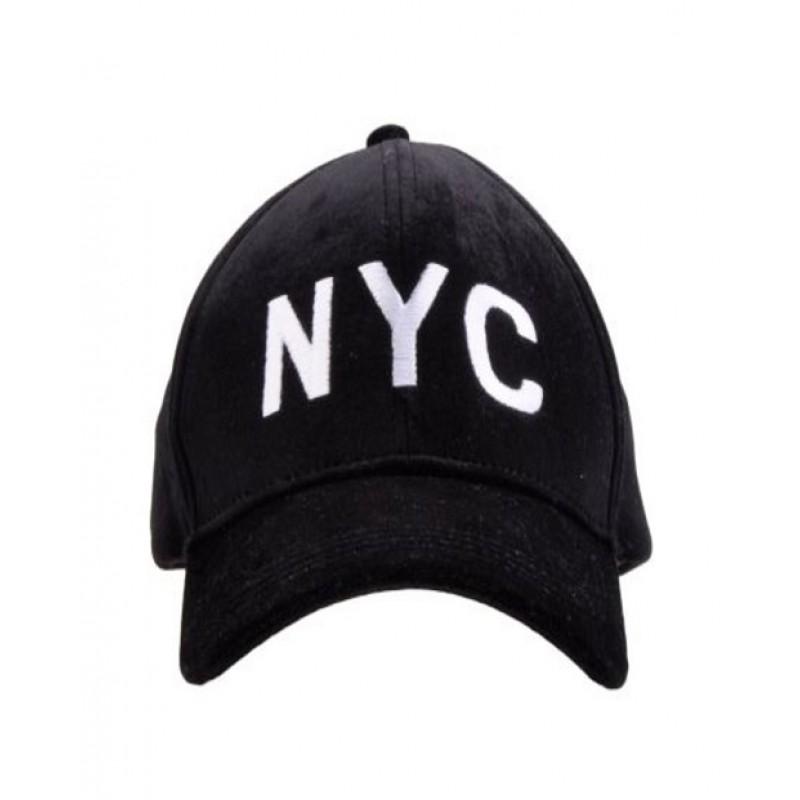 "PETIT BY SOFIE SCHNOOR CAP SORT VELOUR MED HVIDT ""NYC""-31"
