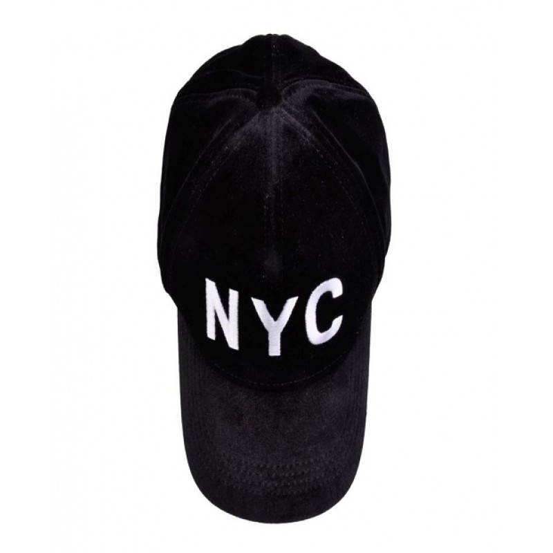 "PETIT BY SOFIE SCHNOOR CAP SORT VELOUR MED HVIDT ""NYC""-01"
