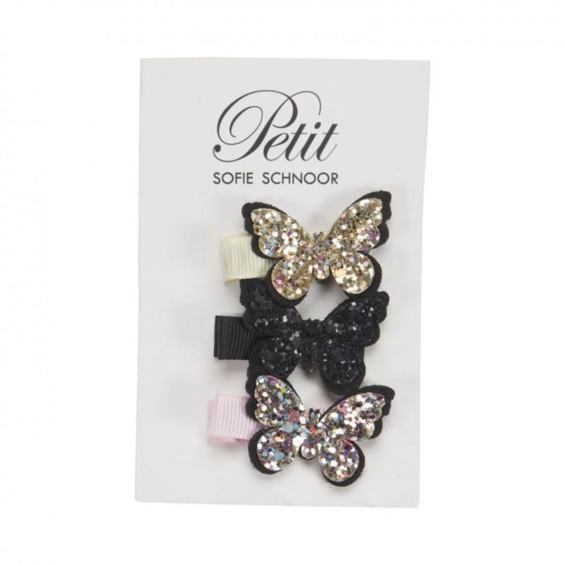 Hårclips med sommerfugle i glimmer guld/sort/rosa-31