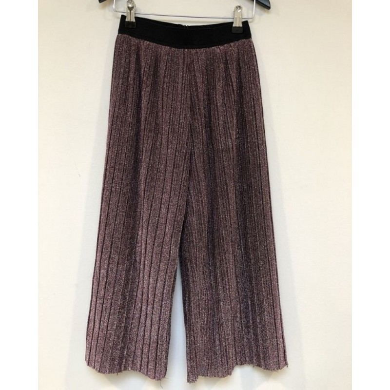 PETIT BY SOFIE SCHNOOR Plisseret culotte wide pants i lyslilla glimmer-34