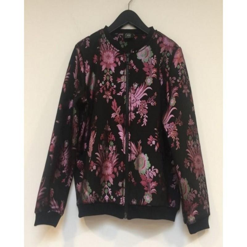 Bomber jakke med blomsterprint sort-33