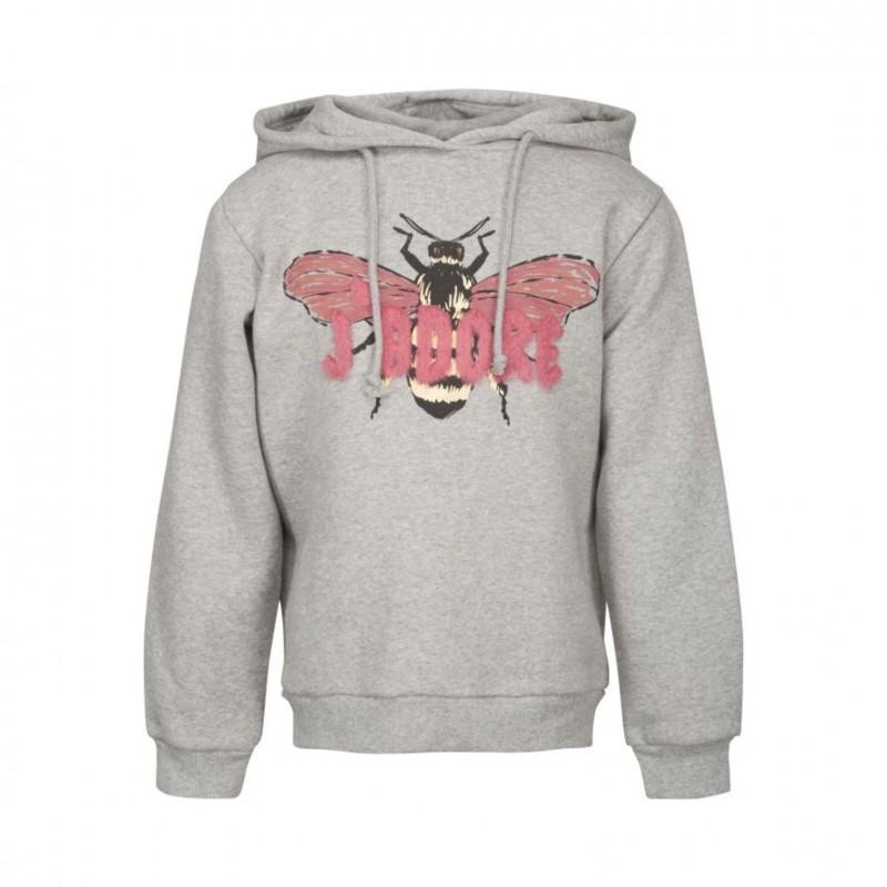 Hoodie med rosa plys og print af flue grey melange-34