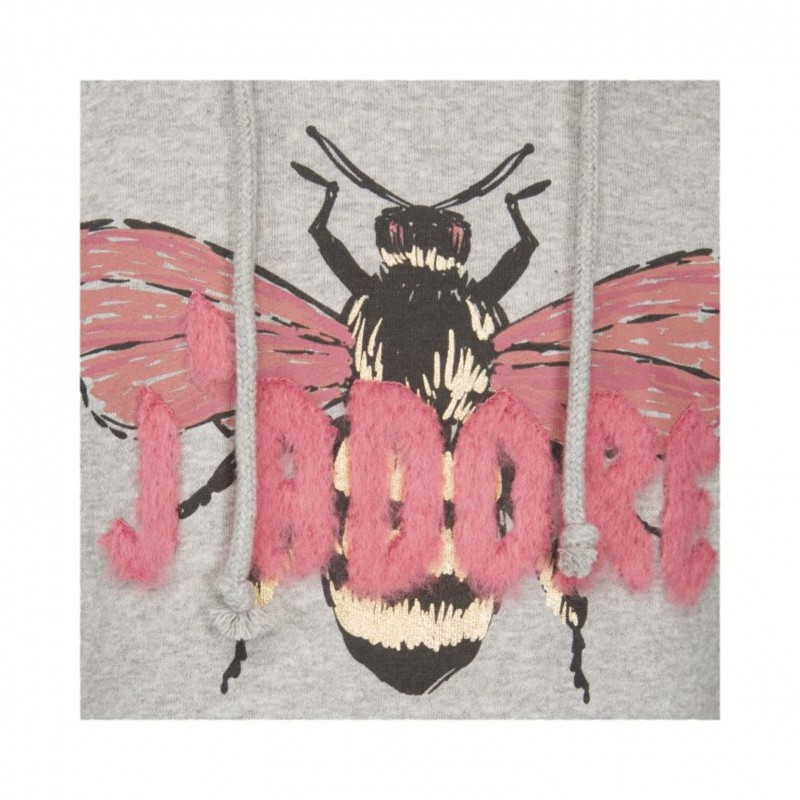 Hoodie med rosa plys og print af flue grey melange-04