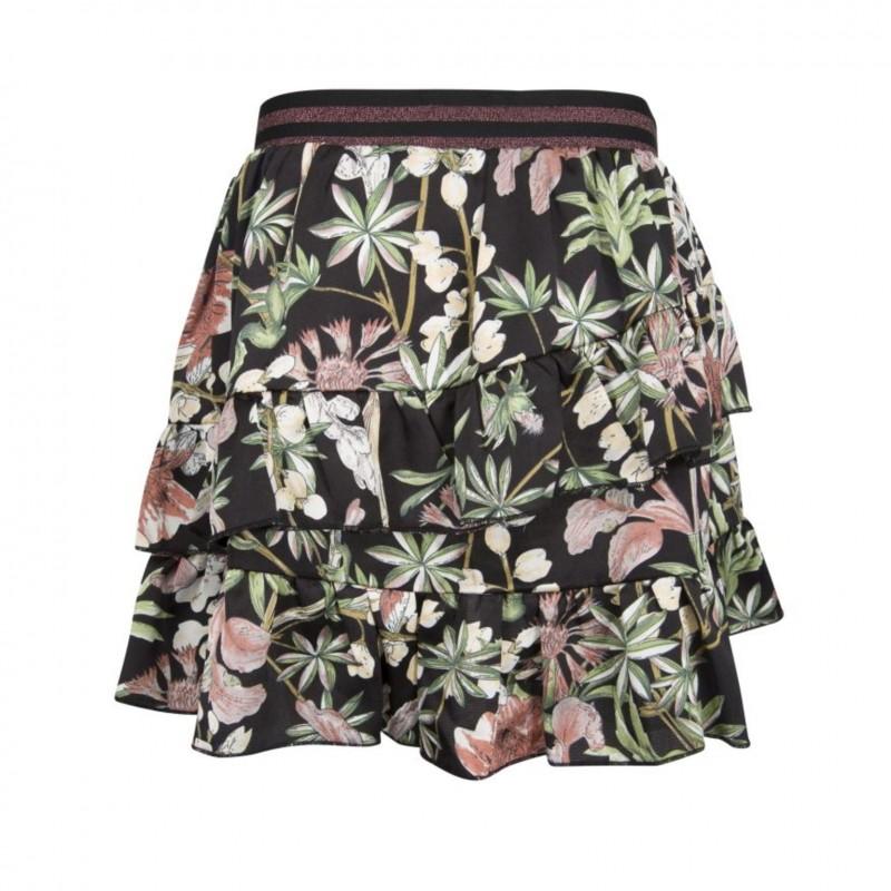 PETIT BY SOFIE SCHNOOR Blomstret skirt med flæser og glimmer elastik-310