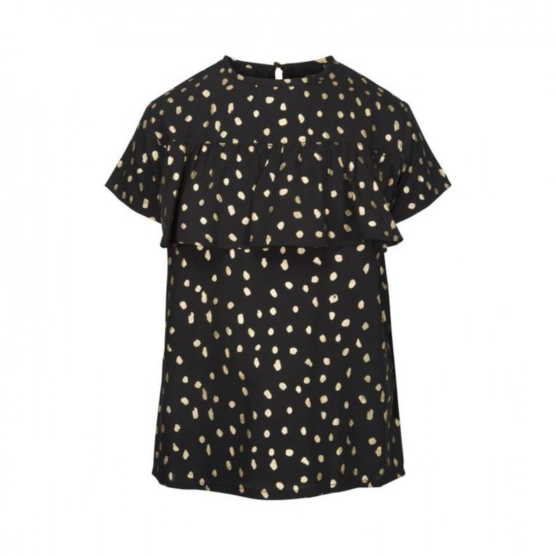 PETIT BY SOFIE SCHNOOR Kortærmet bluse med flæse sort med guld-34