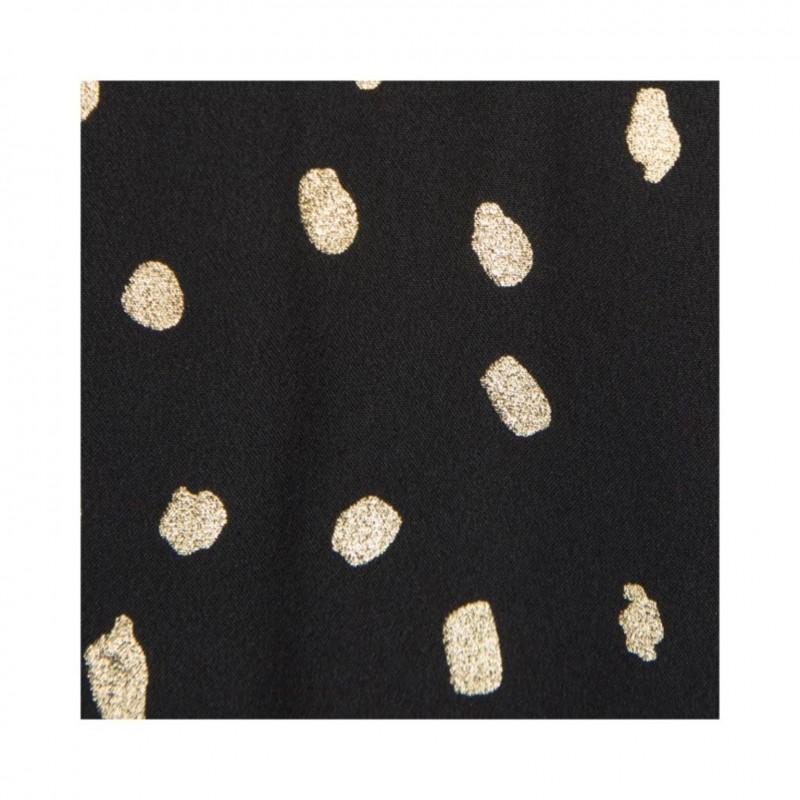 PETIT BY SOFIE SCHNOOR Kortærmet bluse med flæse sort med guld-04