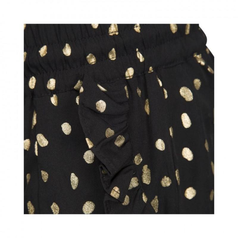 PETIT BY SOFIE SCHNOOR Shorts med flæser sort med guld-01